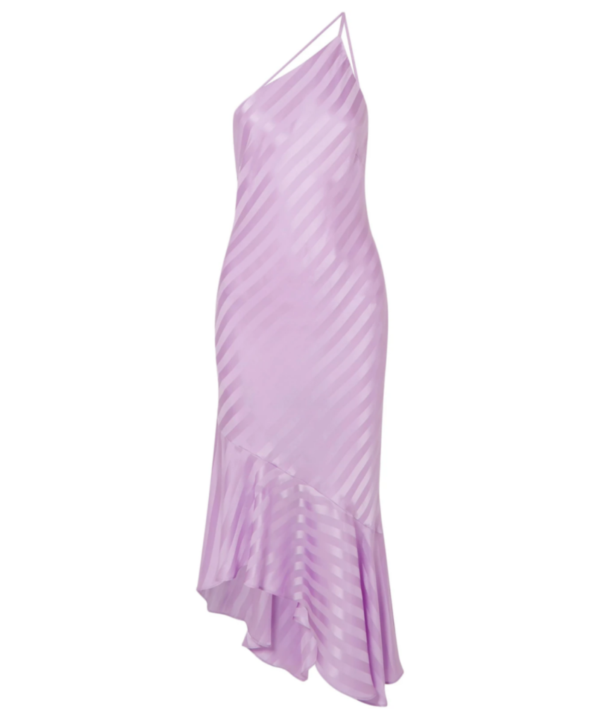 one shoulder stripe dress lilac michelle mason