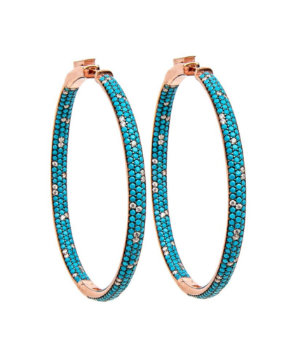 Statement Hoop rose gold turquoise champagne crystals