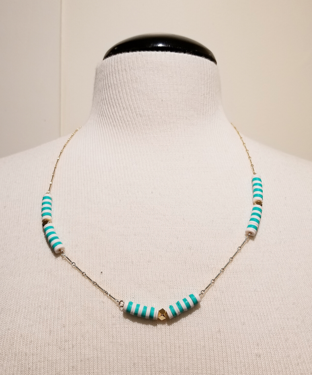 Striped Single Chain Turquoise White Gold