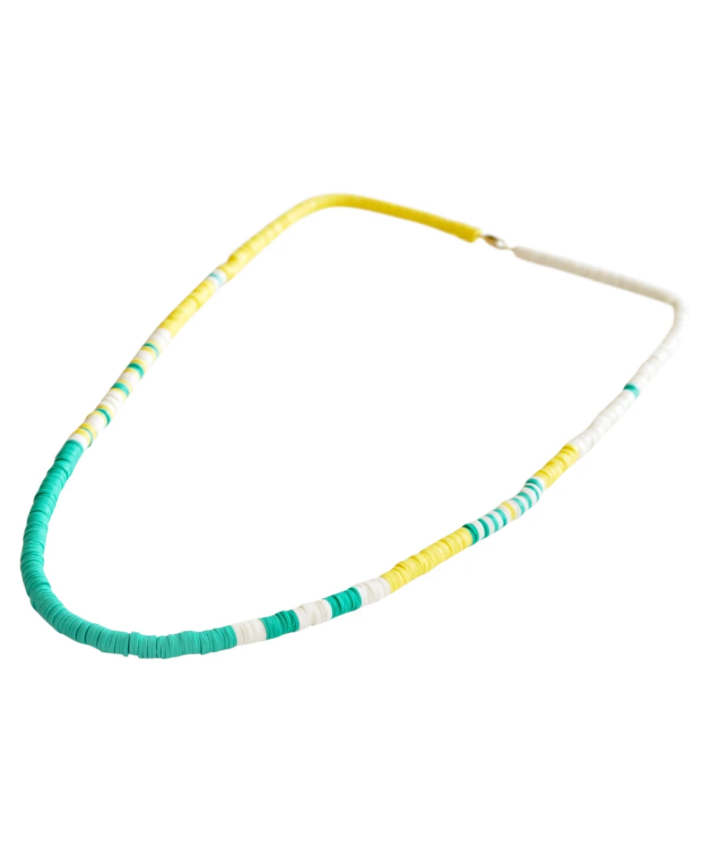 neon beaded necklace green yellow white