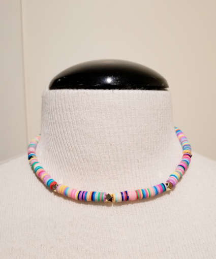 neon multi gold short beaded necklace