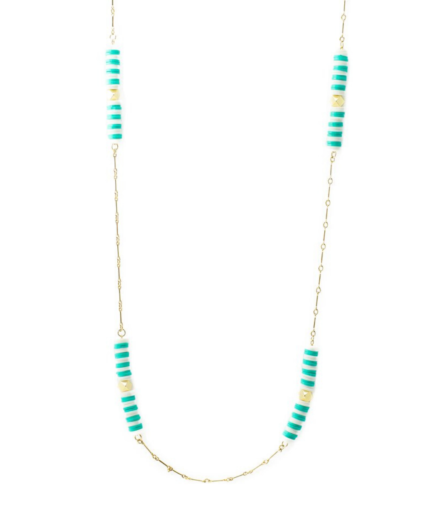 striped chain necklace turquoise white gold