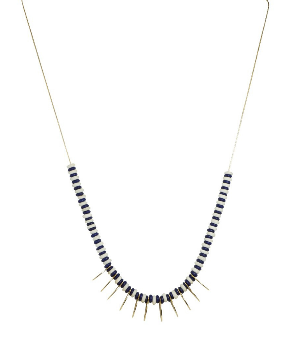 tribal gold oval necklace navy white
