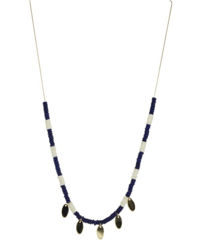 tribal xl gold oval necklace navy white