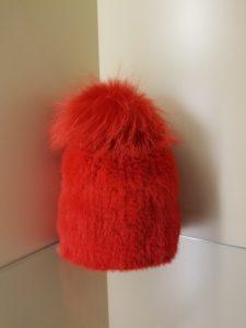mink pom pom hat red