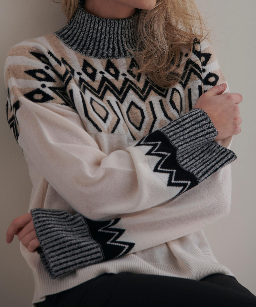 Blair Fairisle Sweater Organic White Black Cygnet Brodie Cashmere
