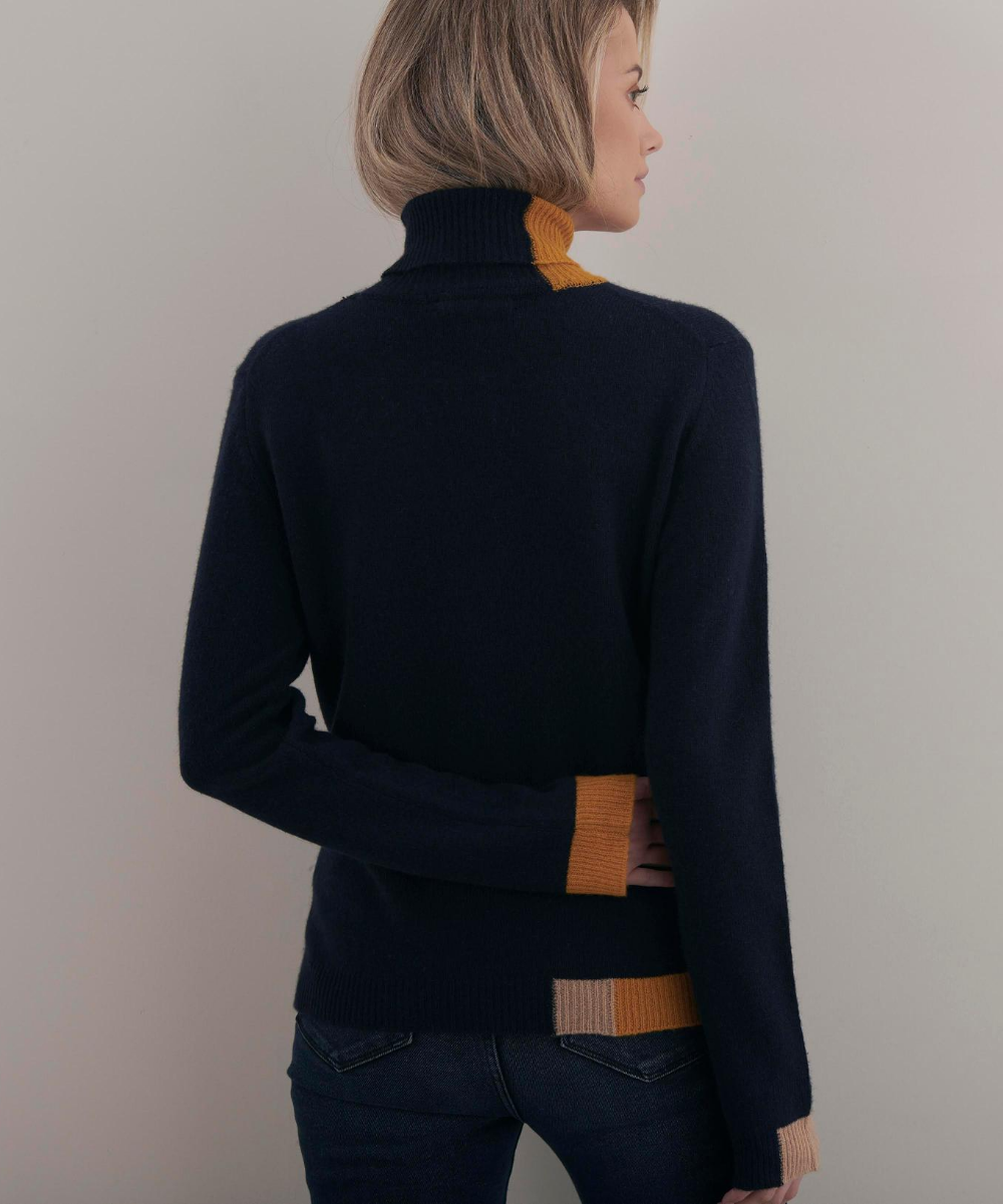 Block Roll Neck Sweater Navy Camel Ochre Brodie Cashmere
