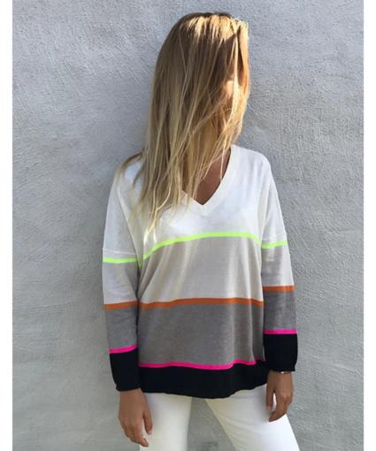 Brodie Phoebe V-Neck Block Stripe Sweater