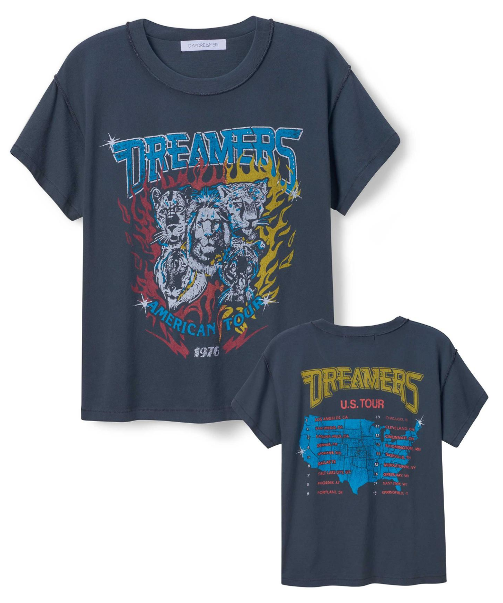 Dreamers American Tour Reverse Girlfriend Tee Vintage Black Daydreamer