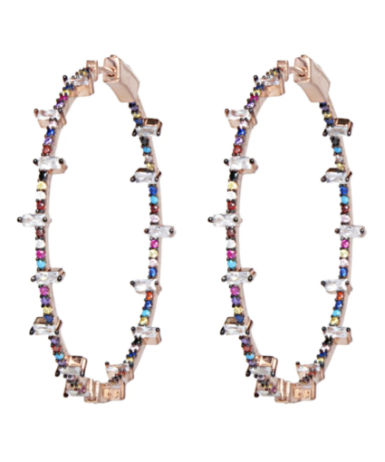 Jacob Hoops Earrings Multi Rose Gold