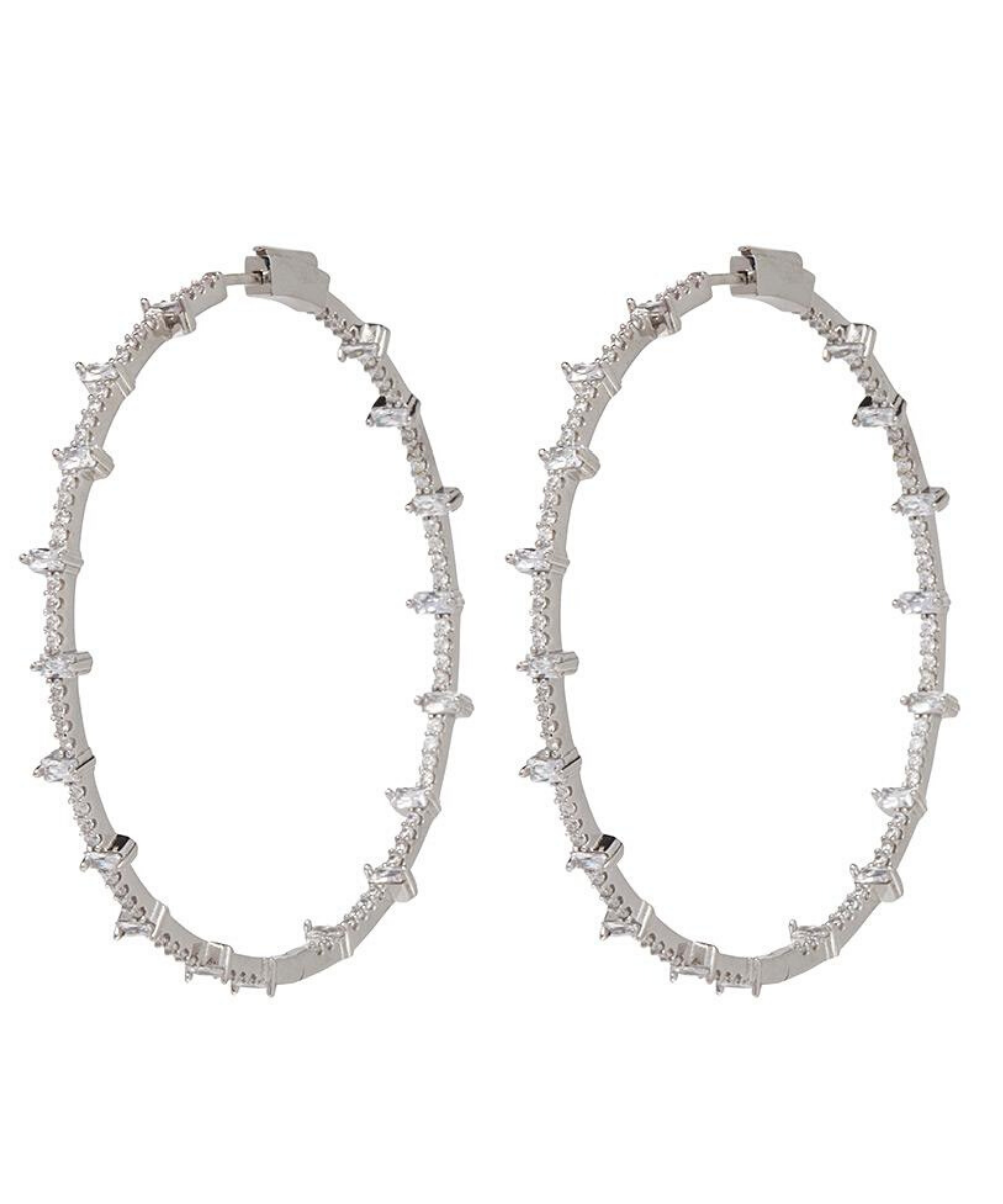 Jacob Hoops Earrings Silver Clear