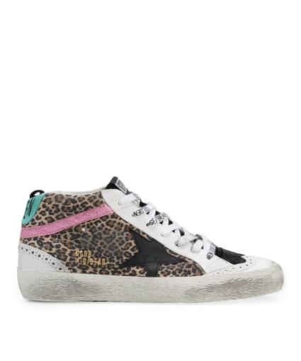 Mid Star Sneaker Leopard Golden Goose