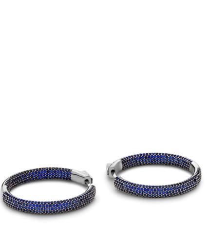 Nickho Rey Tire Hoop Earrings Blue Pewter