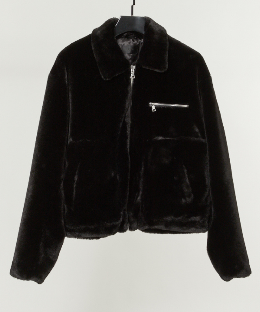Reese Faux Fur Jacket Black RtA