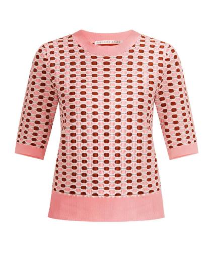 Veronica Beard Zia Knit Jacquard Textured Sweater Top