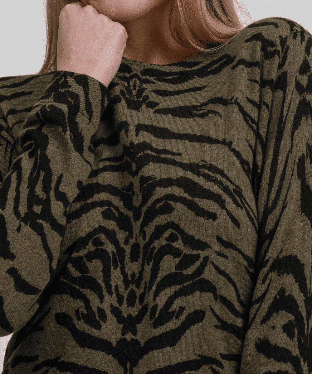 Zoe Zebra Sweater Olive Black Brodie