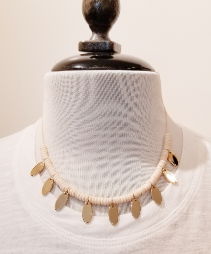 gold oval tag necklace