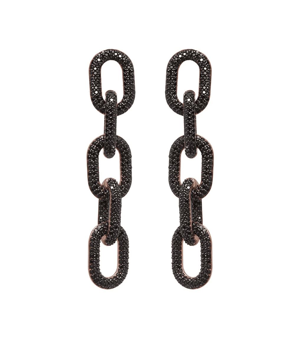 link earrings rose gold black crystal
