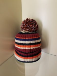 Striped Pom Pom Hat Claret Multi Autumn Cashmere