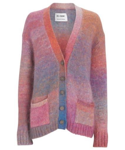90s oversized knit cardigan space dye redone