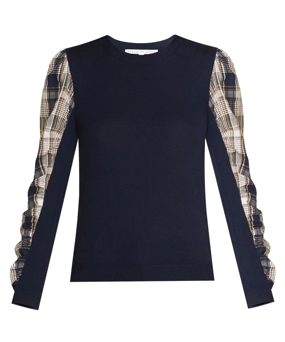 Adler Mixed Media Sweater Plaid Navy Veronica Beard