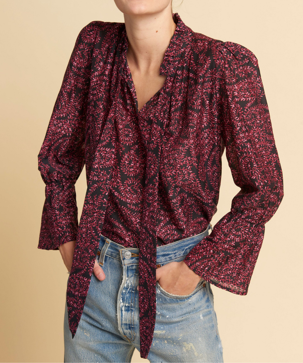 August Blouse Burgundy Black