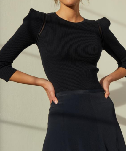 Puff Shoulder Sheer Inset Sweater Black Autumn Cashmere