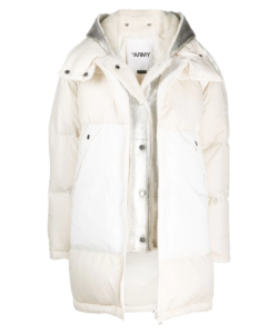 Shearling Lined Parka White SIlver Army Yves Salomon