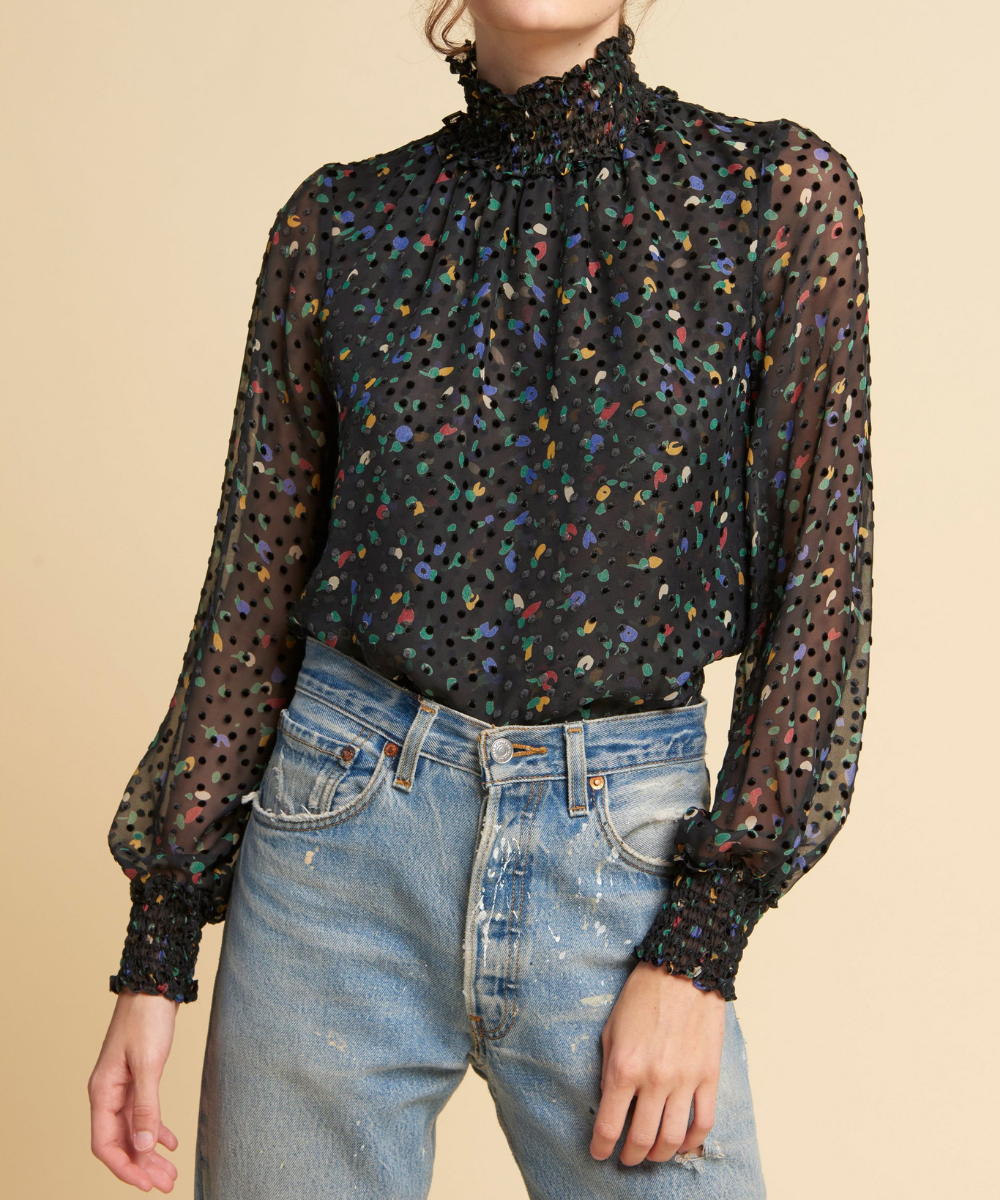 daisy blouse black multi warm