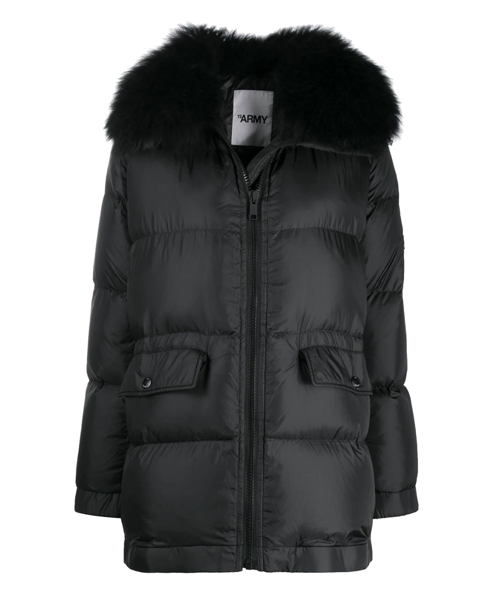 fur trimmed puffer black army yves salomon
