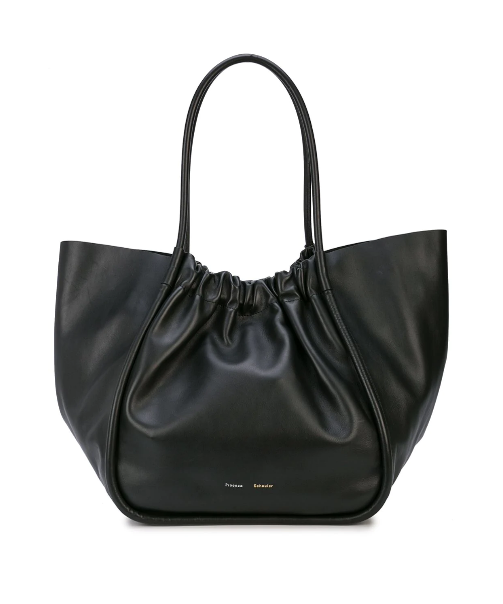 large ruched tote smooth black proenza schouler