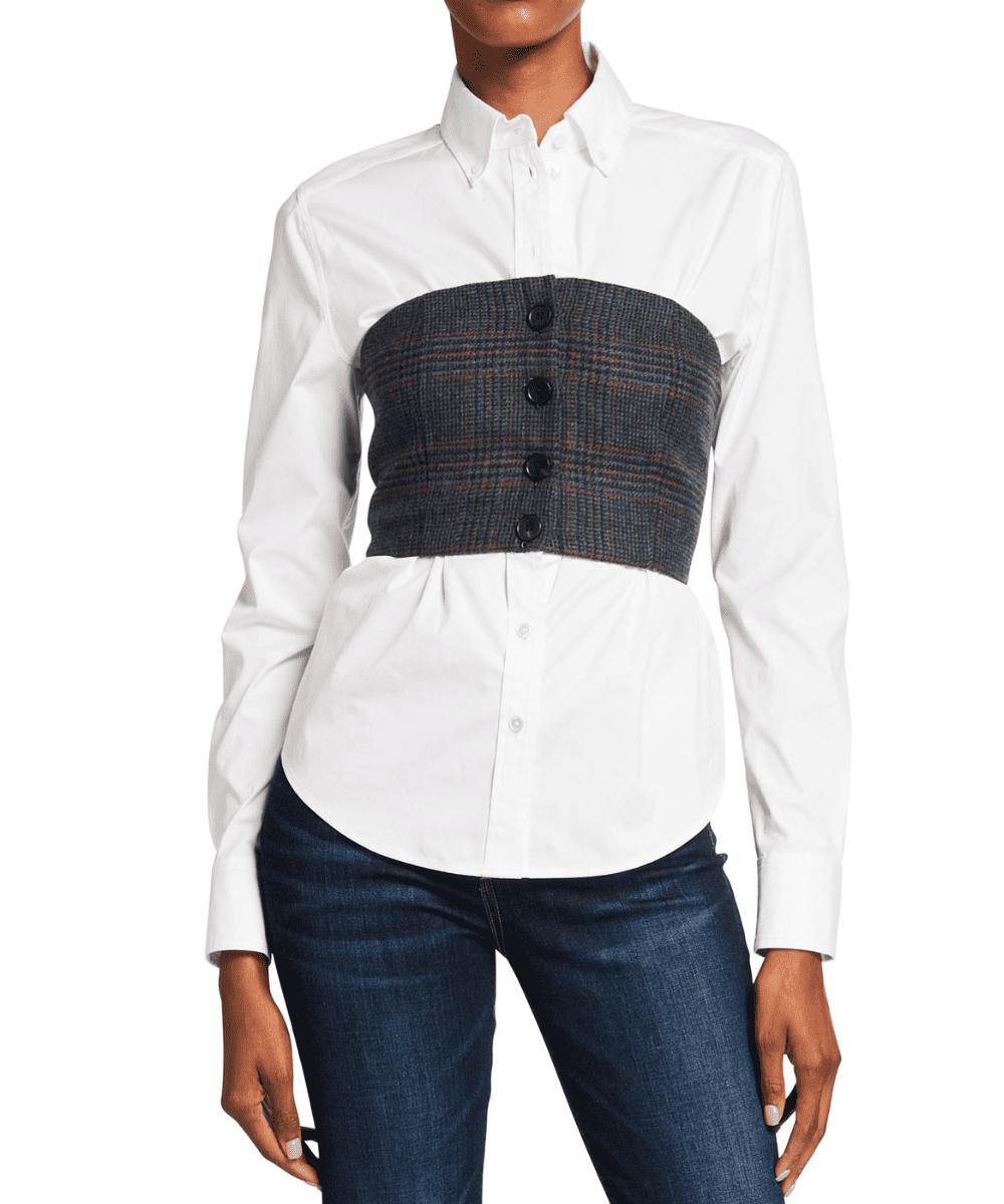 miki blouse white navy plaid