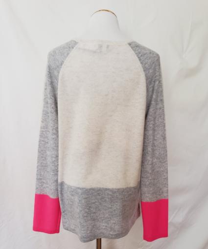 Kinross Cashmere Back Colorblock Pink Ivory Grey