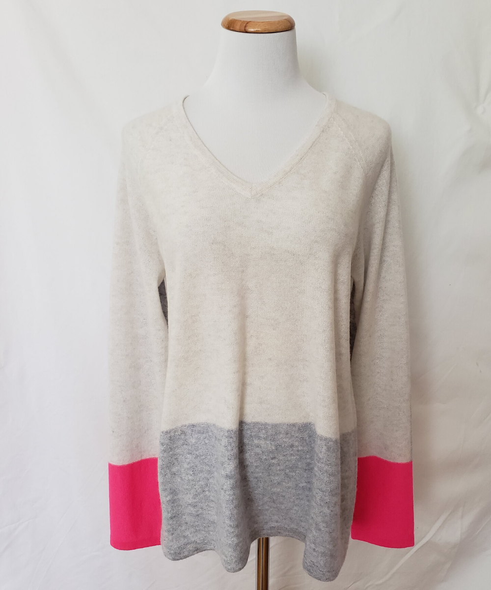 Kinross Cashmere Colorblock Pink Ivory Grey