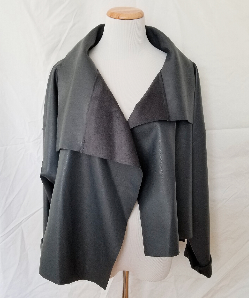 Planet Nickel Grey Charcoal Asymmetrical Vegan Leather Jacket