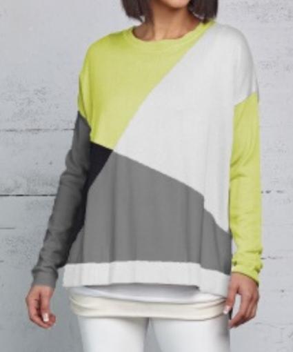 mod argyle knit sweater chartreuse