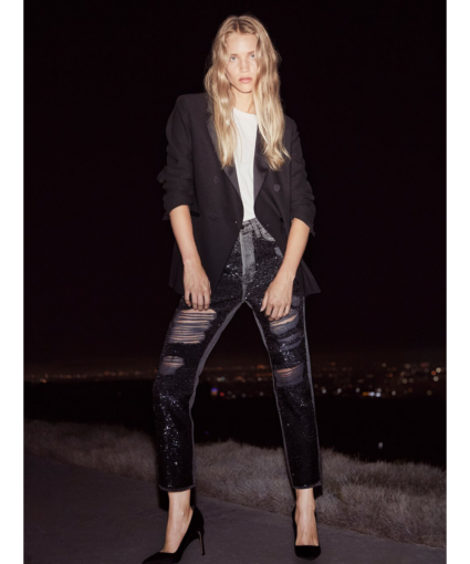 Frame Distressed Sequin Jeans