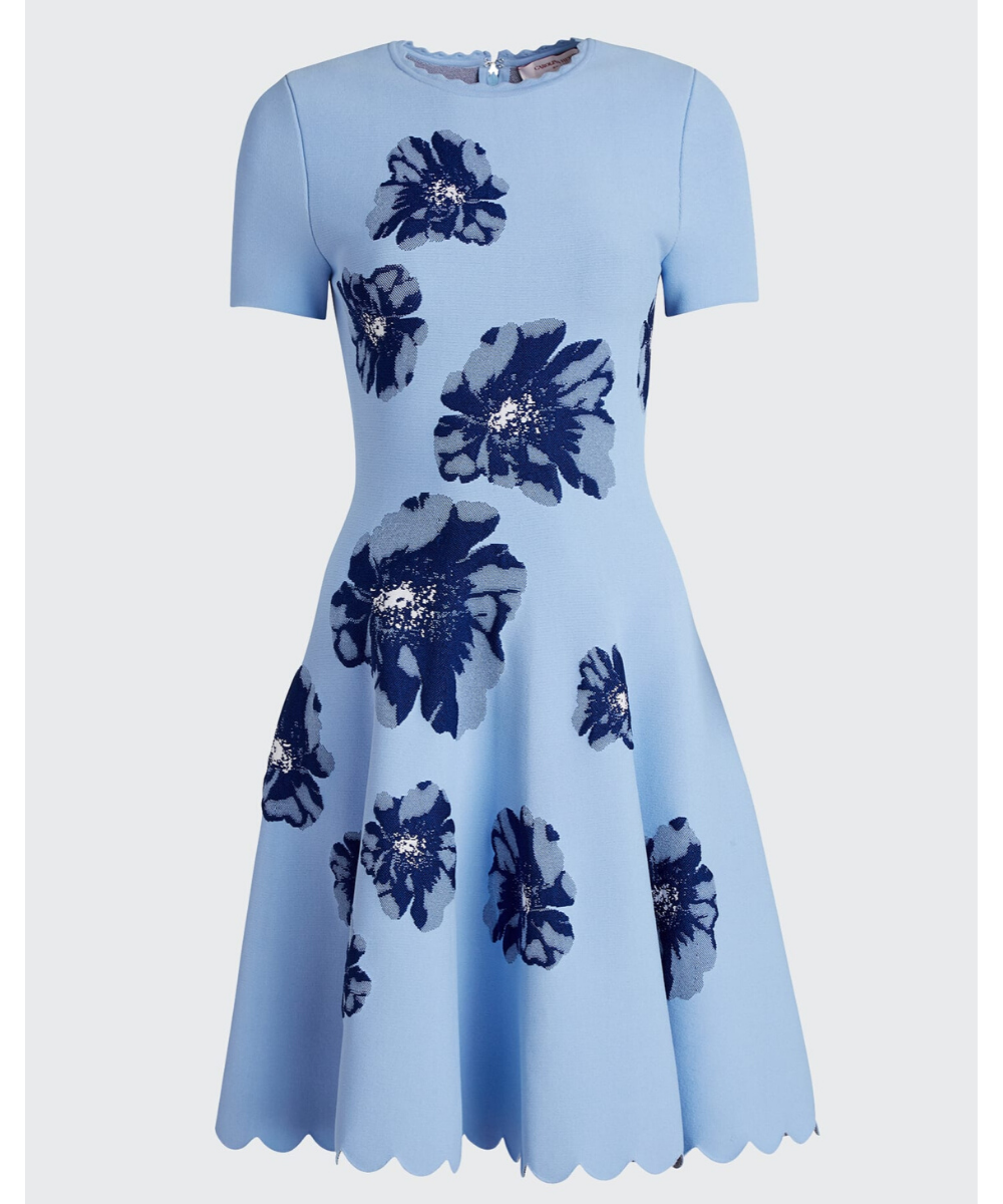 carolina herrera floral fit and flare knit dress marina