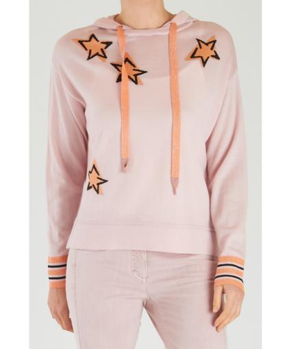 Luisa Cerano Star Print Hooded Sweater - Blush Orange
