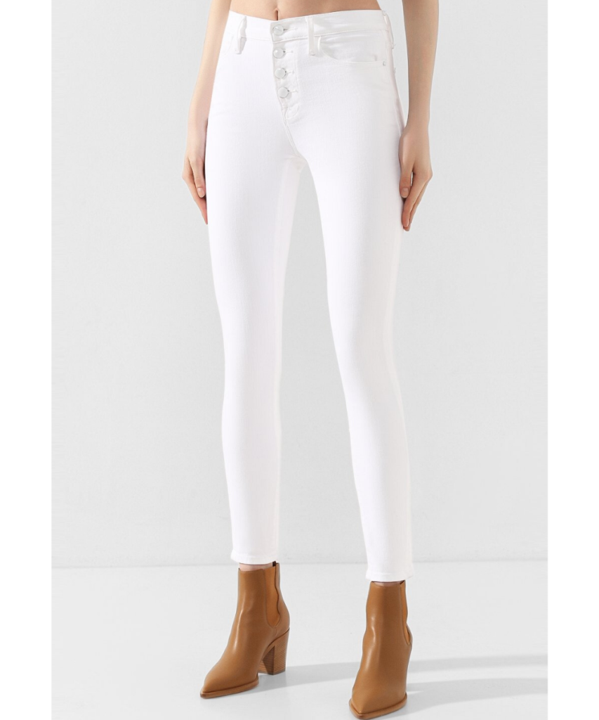 le high exposed button skinny jean blanc white
