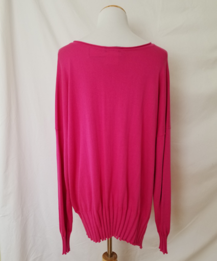 planet rib v neck sweater fuchsia pink