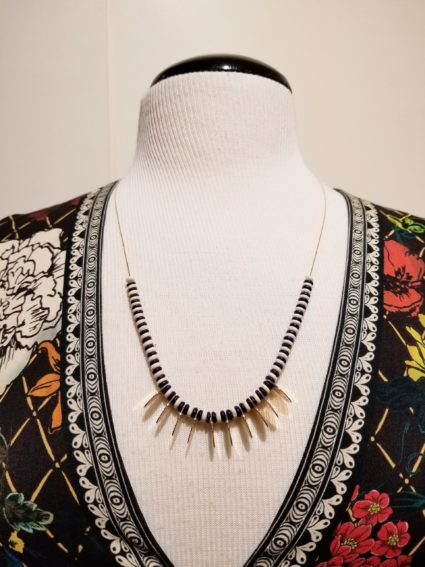 Tribal Beaded Gold Oval Necklace Navy White