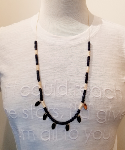 xl tribal oval tag necklace navy white