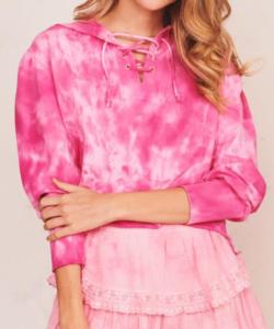 Bevan Hoodie Bougainvilla Pink Tie Dye LoveShackFancy