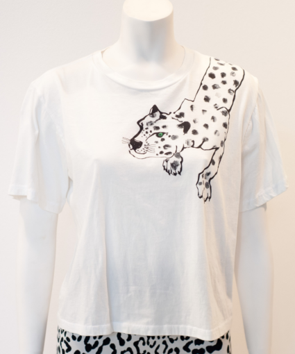 Painted Lil Cheetah Tee White Le Superbe