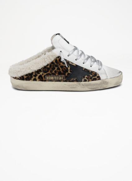 Superstar Sabot Shearling Mule Sneaker Leopard White Silver Golden Goose