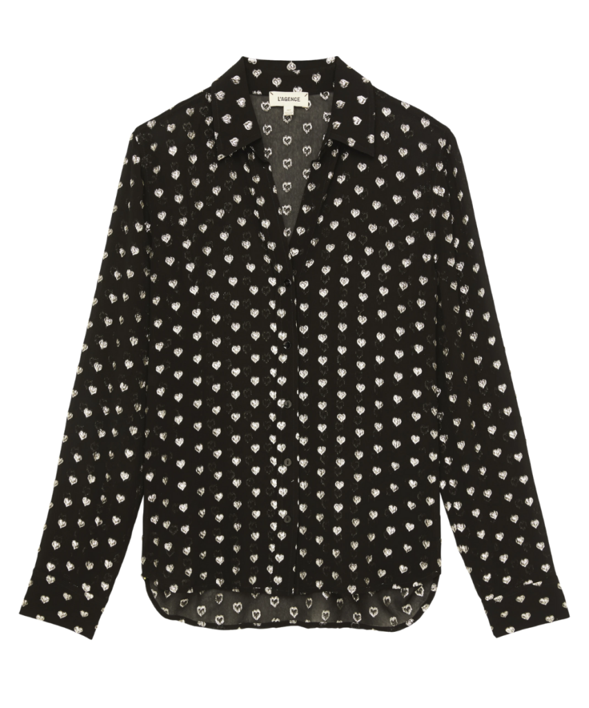 hailie blouse black silver hearts l'agence