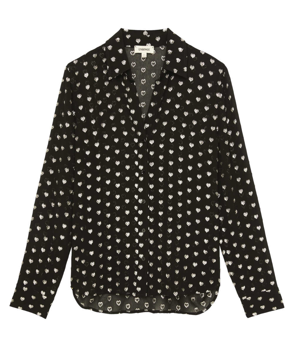 hailie blouse black silver hearts l'agence
