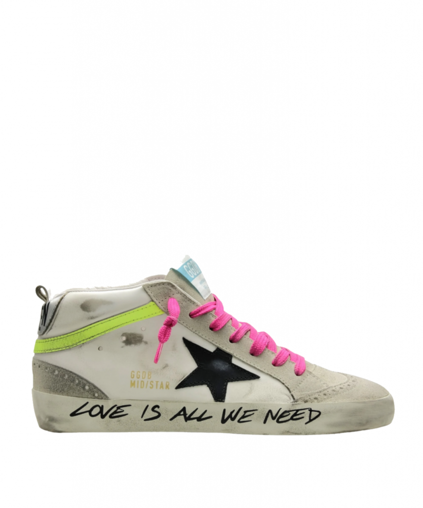 mid star sneaker love is all we need golden goose