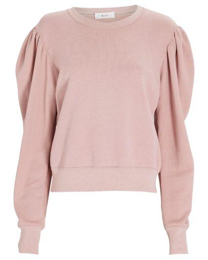 rayna puff shoulder sweatshirt baby pink alc